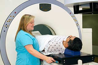 Patient undergoing radiation treatment.